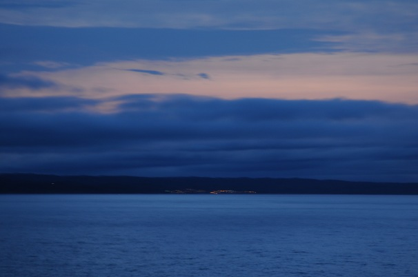 Marine Atlantic ferry pulling into Port aux Basques, Newfoundland at sunrise.