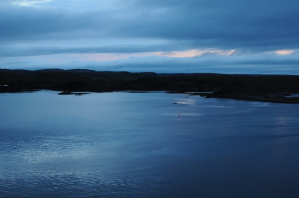 View from the Marine Atlantic ferry at our sunrise arrival into Port aux Basques, NL.